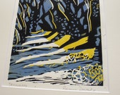 Art Gift - French Country Lane - Lino cut - Original Prints In Limited edition