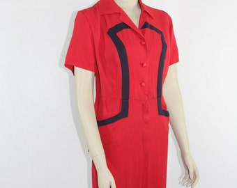 SALE.....1940s Vintage Dress - Red with Navy Blue Color Block XL Dress - 44 / 38 / 46