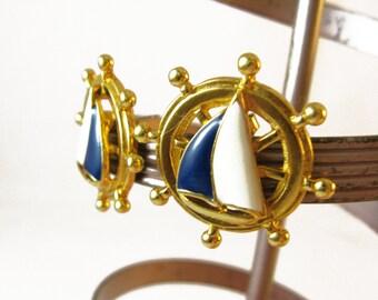 Nautical Jewelry Earrings, Sailboat Earrings, Sailor Girlfriend White and Blue Earrings, Sailor's Wife Nautical Earrings, Gold Post Earrings