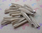 25pcs beige color Suede Leather Tassels with Silver Color Cap, DIY Cell Phone or Available Earring Pendant Findings