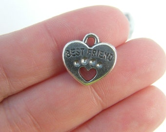 6 Best Friend Charms Antique Silver Tone with Heart Dog Paw 2 Sided SC2814
