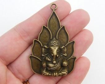 BULK 5 Elephant pendants antique bronze tone BC170