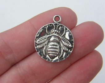 4 Bee pendants antique silver tone A239