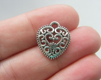 8 Heart charms antique silver tone H86