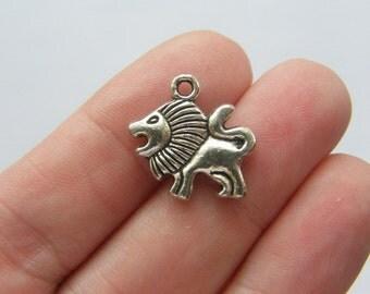 6 Lion charms antique silver tone A15