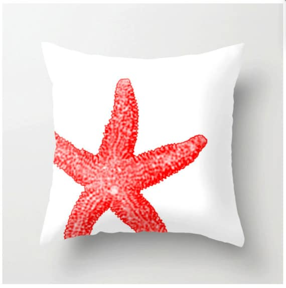 Coral And White Starfish Pillow Beach Decor Home Decor Nautical