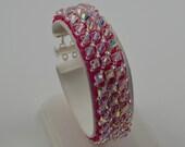 Hot Pink Custom Crystal Bracelet made with Swarovski AB, Prom, Bridesmaids