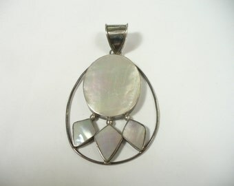 Vintage white mother of pearl sterling silver pendant - 2-3/8 inch tall -  10.7 grams