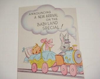 12 Baby Announcements Baby On Train Rabbit Engineer Unused Vintage Stock