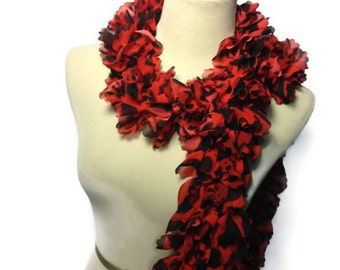 Sale, Red Scarf, Ruffle Scarf, Leopard Scarf, Hand Knit Scarf, Gift Idea For Her, Fashion Accessory, Womens Accessory, Fiber Art,