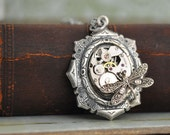 steampunk jewelry - TIME TRAVELER - antiqued silver steampunk watch movement necklace with tiny dragonfly - junesnight