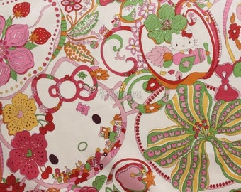 Liberty tana lawn - Wonder Land  - Hello Kitty printed in Japan - Pink mix