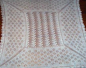 Shawl Knitting Pattern - Lacy Shetland Shawl for Baby Baptism Christening Heirloom