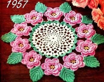 SALE**** Rose Doily Irish Crochet PDF pattern 1957 -  Crochet Pattern download