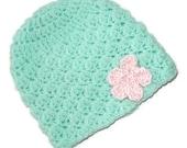 Shell Swirl Baby Hat - Robin Blue With Pink Crocheted Flower - Newborn size