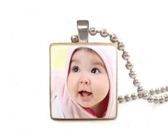 Custom Baby Photo Necklace | New Mom Necklace | Gift for New Mom | Personalized Baby Photo Pendant | Mother's Day Gift | Grandma Gift