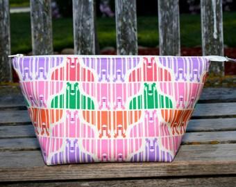 Large Multicolor Tiger Print  Wide Open Zipper Pouch/Travel Bag