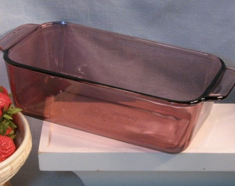 Vintage Corning Ware Pyrex Cranberry Visions Baking Bread or Loaf Pan, Glass Cookware Bakeware, Corningware Visions, Mid Century Kitchen
