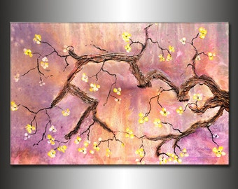 Original Abstract Palette Knife painting, Contemporary Textured Modern Floral Tree Blossoms  Fine Art, Canvas Art, by Henry Parsinia 36x24