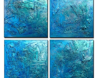 Huge Original Abstract Painting, Textured Metallic Art by Henry Parsinia large 40x40