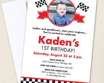 Race Car Party Photo Invitations - Professionally printed *or* DIY printable
