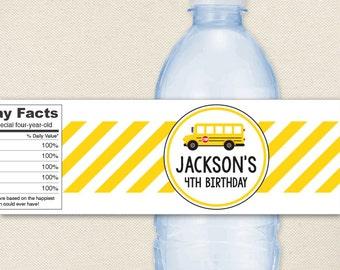 School Bus Party - 100% waterproof personalized water bottle labels