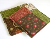Modern Quilted Potholder Set - Cotton Blossoms