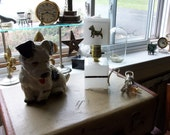 Westie Dog Shade on Mini square Lamp in Dental Glass