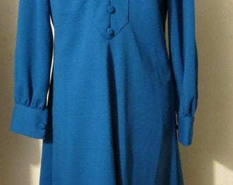 Vtg 60s Futuristic Blue Tux Front V neck Empire Waist Princess Seamed A-Line Secretary Dress larger size