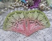 Vintage Lace Fan Hand Dyed Venise Embellishment Crazy Quilt Appliques