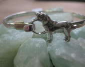 Labrador Retriever Sterling Silver and 14k Gold Wrapped Dog Hook Bangle