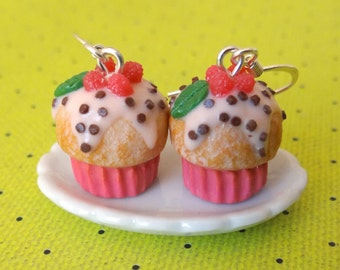 Raspberry cupcake earrings