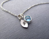 Initial Birthstone Necklace, Silver Birthstone Jewelry, Personalized Necklace, Personalized Birthstone, Teachers Gift, Back to School