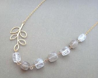 White and gold necklace quartz gemstone necklace quartz and gold leaf branch necklace rutilated quartz necklace gold rutiles leaf necklace