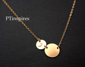 Sideways two Initial disc necklace All GOLD FILLED - family initials , sweet birthday Mothers day gift , Christmas , for wife , mom daughter