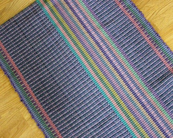 Cotton Rag  Rug 2 x 3 / Purple and Blue Kitchen Rug