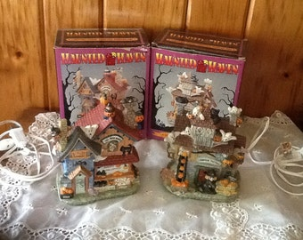 Halloween Village Houses Haunted Haven Lighted Porcelain Vintage Decorations