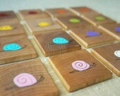 Memory Game Snails Color Match Wooden Children's Game Rainbow Natural Wood Toy Waldorf