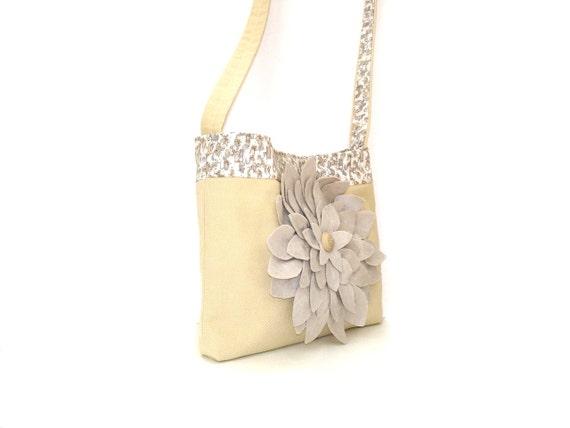 Tote bag, purse, cotton canvas shoulder bag, suede flower, yellow cream, carry all bag, canvas pocketbook, canvas tote Autumn bag