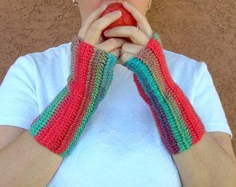 Parrot Fingerless Gloves, Bright, Unforgettable Fingerless Gloves for Women or Men in Red, Green, Blue, Crochet, Crocheted Arm Warmers