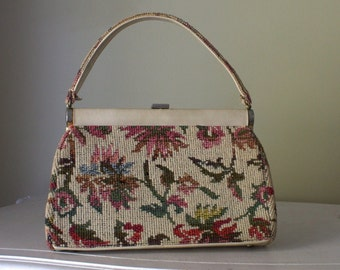 Vintage Floral Carpet Bag 1950s 1960s Carpet Bag Purse Larger Size