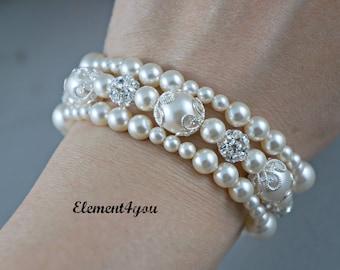Bridal bracelet Bridesmaid three strands bracelet Wedding jewelry Rhinestone pearl silver Swarovski Pearls ivory white cream pink color