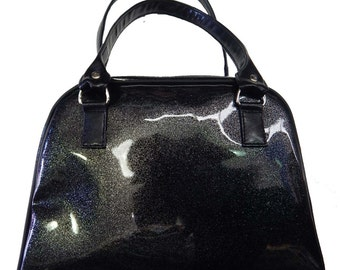 "Handbag MEDIUM Doctor bag Satchel Style WITH ""SHINY Glossy Shimmering Black Color"" 50's Pattern Bag Purse, Black Color,New, Rare"