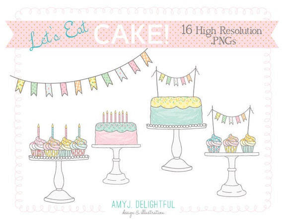 Let's Eat Cake! CLIP ART SET for personal and commercial use -cupcakes, cake stands, bunting, garland, candles, sprinkles