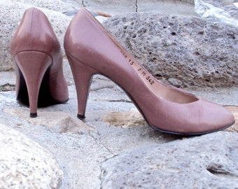 High Heels Mauve Leather Pumps Stilettos Vintage