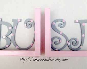 initial bookends,pale pink,gray,grey,pink polka dots,girls initial bookends,letter bookends,childrens bookends,kids book ends,girls bookends