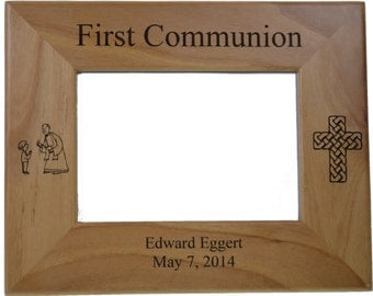 """First Communion (Boy) Picture Frame Personalized Made of Solid Red Alder Wood holds 4"""" by 6"""" photo - Perfect Unique First Communion Gift"""