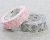 MT 2014 A/W - Japanese Washi Masking Tape / Pink or Black Hand Drawn Dots for scrapbooking, packaging, party deco, card making