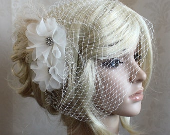 Ivory Silk organza flowers hair clip and birdcage veil ( 2 items) - angle look - wedding reception bridal party