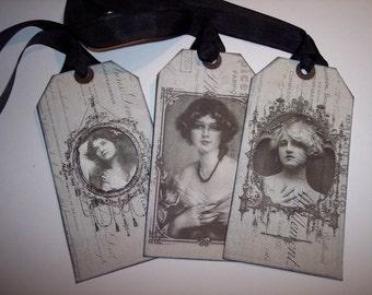Vintage Beautiful Ladies Ephemera Tags set of 6